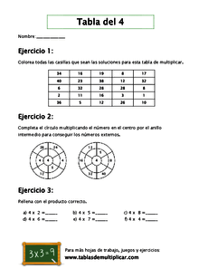 Fichas para practicar las tablas de multiplicar